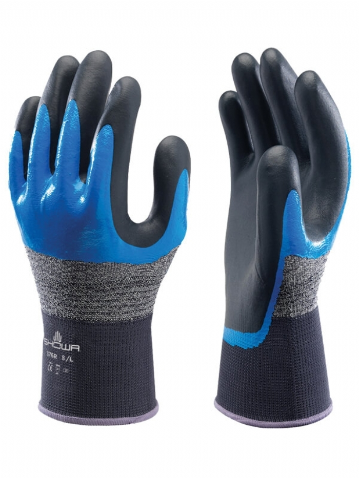 Showa 376R Mens Work Gloves Nitrile Double Dip Coating Hand & Wrist Protection
