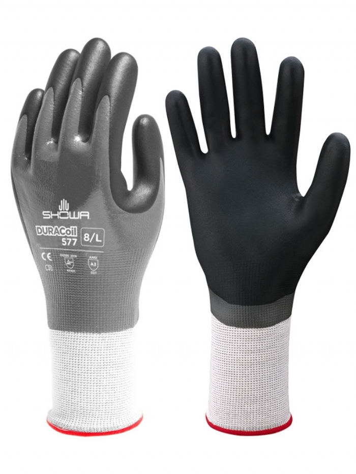 Showa Duracoil, Grey Foam, Nitrile Coated Cut Resistant Gloves