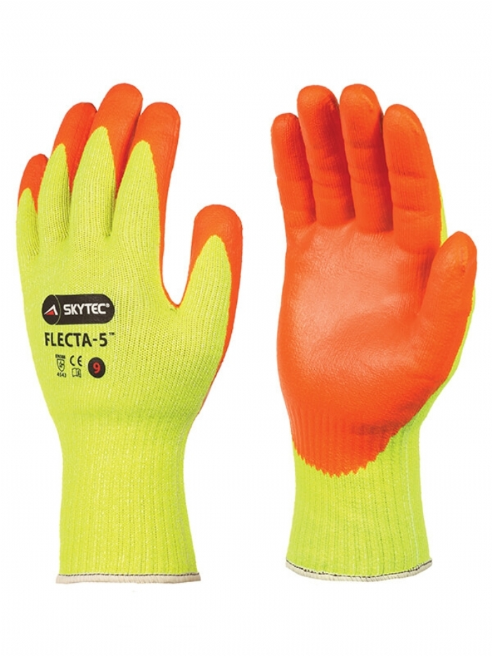 Skytec Flecta-5 High-Visibility Nitrile Foam Cut Level E Glove