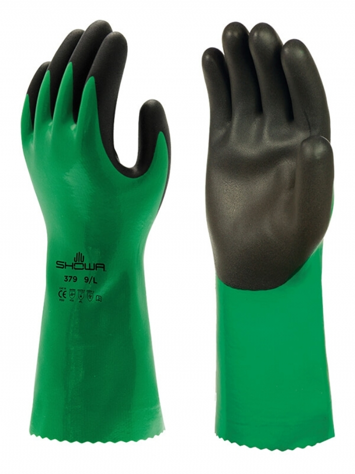 SHOWA 379 CHEMICAL RESISTANT NITRILE FOAM GAUNTLET GLOVES