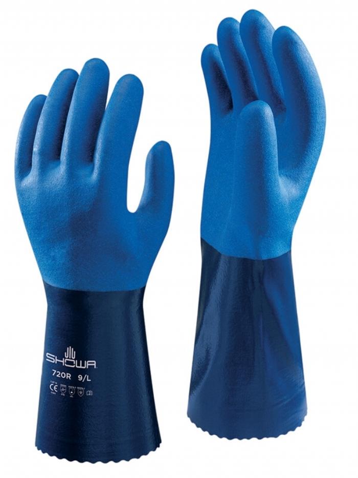 SHOWA 720R Blue Nitrile-Coated Gauntlets