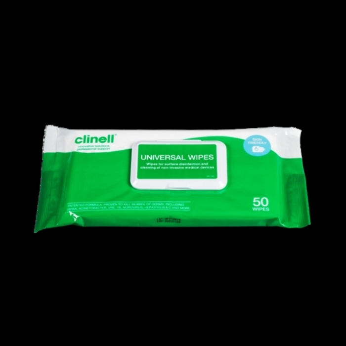 Clinell Universal Wipes Adhesive Back 50