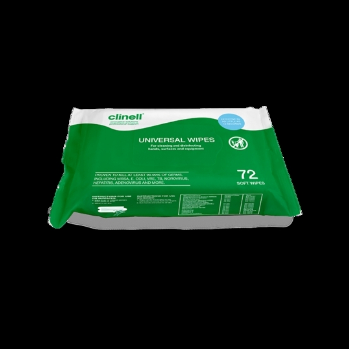 Clinell Universal Hand and Surface Wipes 72