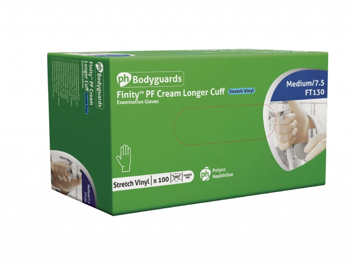 FT130 Finity PF30™ White stretch synthetic polymer powder free disposable glove