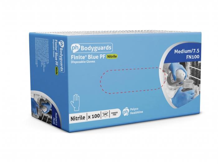 FN100 Finite Blue Powder Free Nitrile Gloves