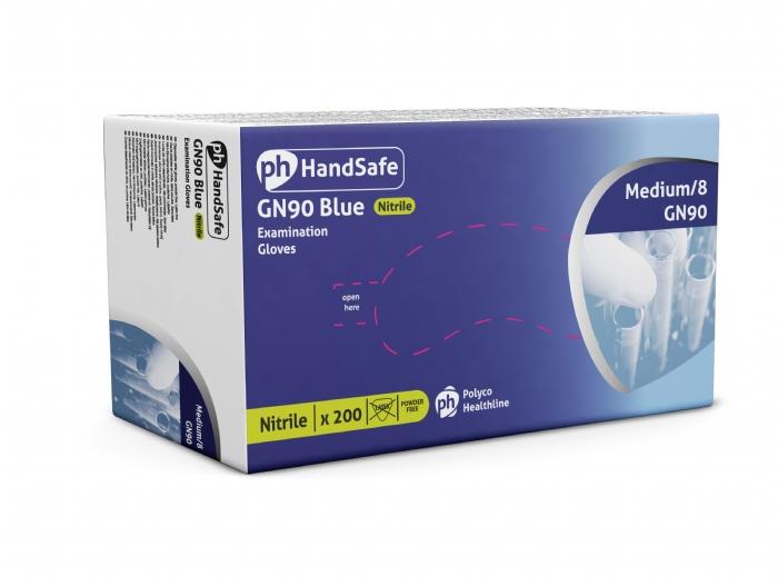 GN90 Hand Safe Blue Powder Free Nitrile Gloves - stretchy