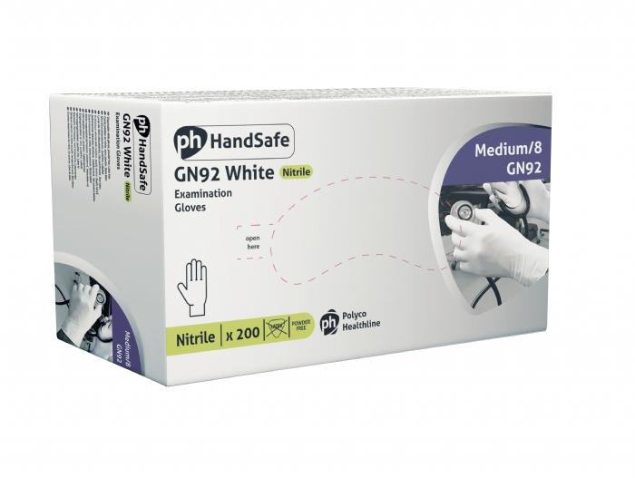 GN92 White Powder Free Nitrile - stretch Gloves