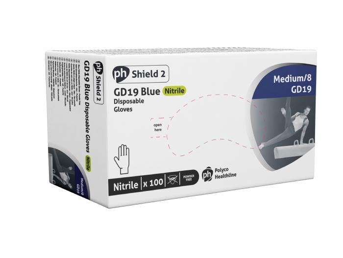 GD19 Shield 2 Blue Powder Free Nitrile Gloves